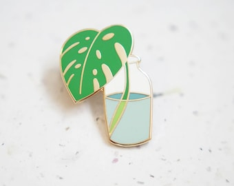 Bottled Monstera Enamel Pin // Hard Enamel - Enamel Pin - Pin - Lapel Pin - Flair - Brooch - Collar Pin - Hat Pin - By Justine Gilbuena