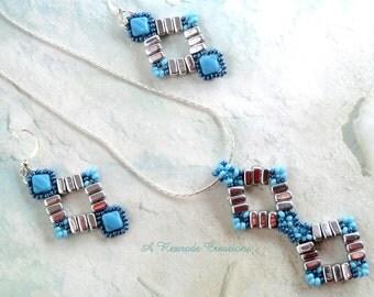 Beaded Jewelry Set Geometric Necklace Seed Bead Necklace Seed Bead Jewelry Women's Gift for Her Boho Jewelry Fashion Statement Jewelry