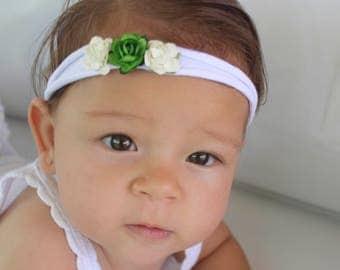 Newborn Flower Headband, Soft Headband, Flower Headband, Flower Headpiece, Infant Headband, Green Headband, Headband Baby,