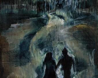 Moonlight - Giclee Art Print, Couple Art, Moon Painting, Moon Wall Art