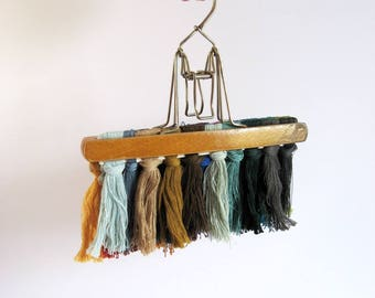 Vintage Wood Hanger - Metal Clip Double Hanger - Pant and Skirt Hanger - Clothes Storage Closet Organizer - Wood Wall Decor Art Display Clip