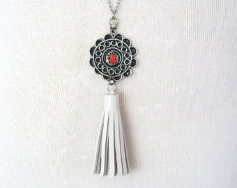 White Tassel Necklace - Boho Long Leather Necklace, Moroccan Ethnic Jewellery