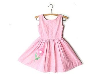 1950s girls dress, 1960s girls dress, vintage girls dress, Pink dress, cotton dress, summer dress
