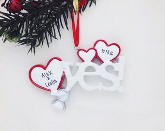 FREE SHIPPING Yes! Hearts & Engagement Rings / First Christmas Ornament / Personalized Ornament / Engaged Couple / Engagement Ornament