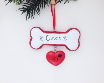 Dog Personalized Christmas Ornament / Dog Ornament / Puppy Ornament / Dog Gift / Pet Gift / Dog Bone with Heart