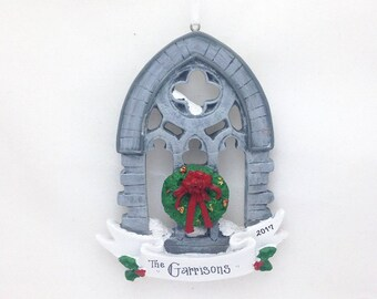 FREE SHIPPING CLEARANCE: Gothic Church Window Ornament / Window with Wreath / Personalized Christmas Ornament / Custom Name or Message