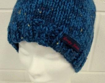 Blue Fleck Handknit Beanie Hat