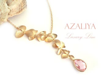 Wild Orchid Necklace with Pink Crystal in Gold. Bridal Necklace. Azaliya Luxury Line. Bridal necklace, Bridesmaids Gift.