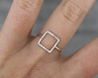Sterling silver square ring handmade ring minimal silver ring empty square stacking ring - AME D'ARGENT