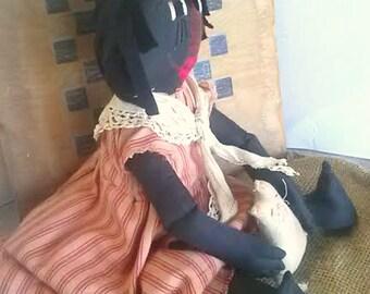 Primitive Black Raggedy Doll Rag Doll Primitive Black Raggedy Ann Black Rag Doll Cloth Rag Doll With Cat African American Rag Doll  Black