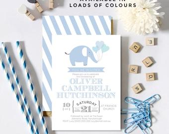 Blue Elephant Christening/Baptism/Birthday Invitations (Personalised Printables)