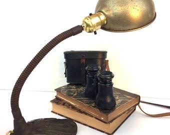 Cast Iron Art Deco Gooseneck Desk Lamp Vintage Industrial Lighting