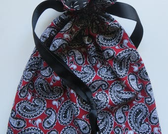 Paisley Black and Red  - Lined Drawstring Fabric Gift Bag