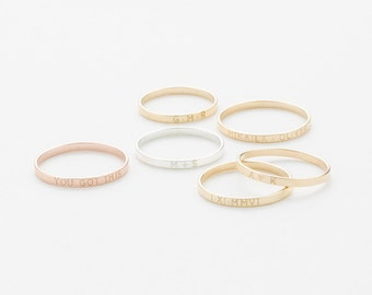 Personalized Stacking Band • Custom Roman Numeral Ring • Dainty Name Ring • Initials Ring • Minimal Stacking Personalized Rings • LR502