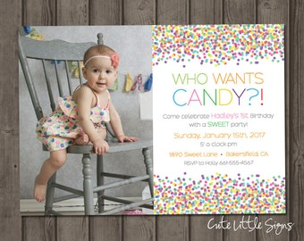 Candy Sweet Birthday Invitation Digital Download