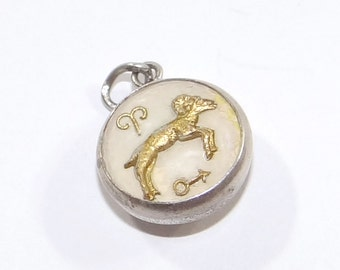 Sterling Aries Bubble Charm - Vintage Two Sided Astrological Sign - Aries the Ram Ardor - Reverse Painted Glass Aries - Zodiac Charm