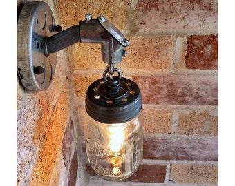 JAR OF LIGHT- Pint Mason Jar Light, Rustic Industrial wall sconce lantern with galvanized metal conduit and chain, Edison light