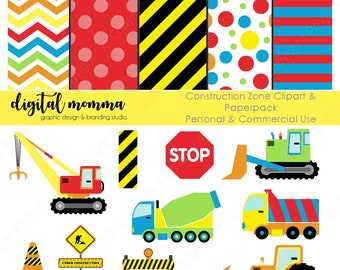 Construction Zone Clipart, Digital Paper Set, Personal & Commercial Use, Instant Download!