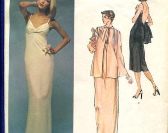 Vintage 1970's Vogue 1554 Designer Nina Ricci Deep Cut Back Evening Dress & Jacket Size 10