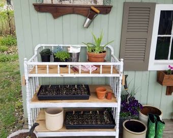 Reclaimed Potting Bench, Coffee Station, Porch Stand ~ Garden Entertaining Decor ~ Farmhouse Cottage Chic Style