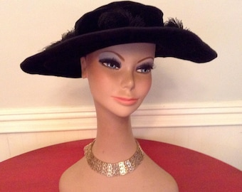 1910 Vintage Hat Edwardian Wide Brim Black Velvet Ostrich Feather Detail