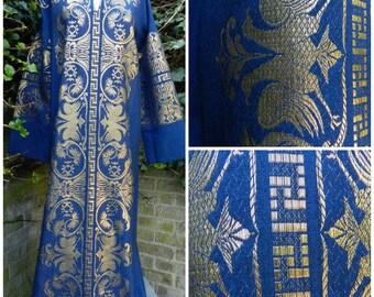 70s cotton linen bohemian kaftan dress royal blue gold bird pheonix LUREX embroidery M ~ L