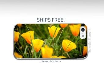 Flower iPhone 7 case, 7 Plus, iPhone 6 Plus, iPhone 5, iPhone SE case, Yellow iPhone 6s // California Poppy Flower Photo-Slim iPhone cases