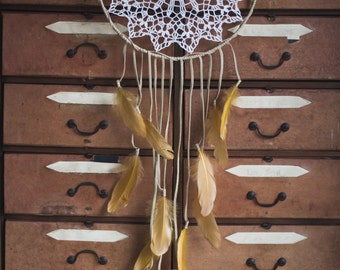 ON SALE! Huge mustard dream catcher made with leather and feathers.