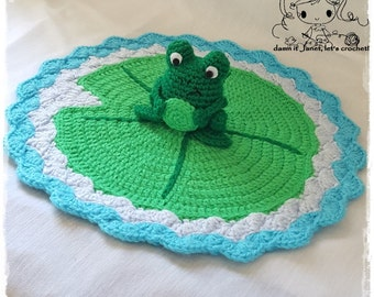 "Frog Security Blanket (Size 14"" diameter) - PDF Crochet Pattern - Instant Download"
