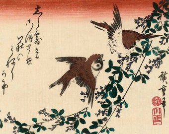 Japanese art, Hiroshige art prints, Bird and Flower paintings, Sparrows, Bush Clover FINE ART PRINT, japanese woodblock print reproduction