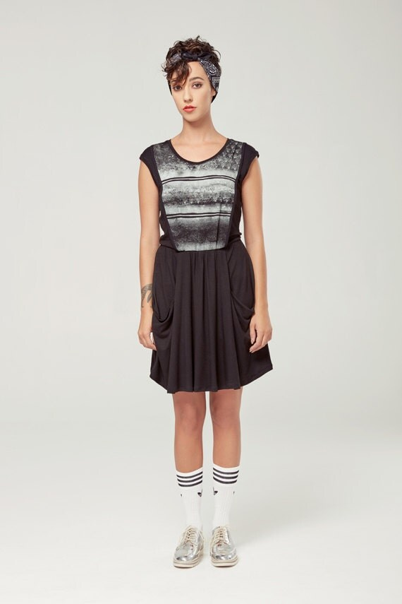 ANDROMÈDE - sleeveless skater dress, empire waist, flared dress for women - black with edgy and grunge silkscreen