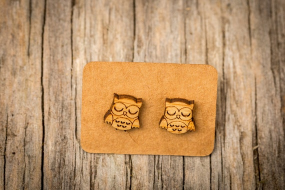 FREE SHIPPING - Owl Bamboo Earrings - Surgical Steel Waterproof - Animal Earrings - Wooden - Owl Wood Earrings - Owl Jewellery