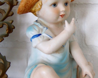 Large Figurine Baby Boy Barefoot on the Beach,  Bisque with watercolor Look glaze,1980's