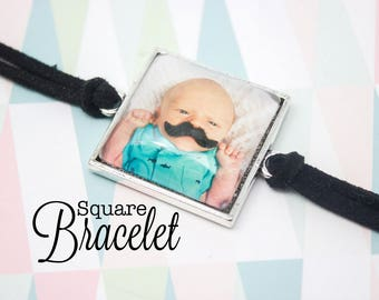 Custom Photo Bracelet - Personalized Bracelet - Square Photo Bracelet - Antique Silver Bracelet - Photo Jewelry