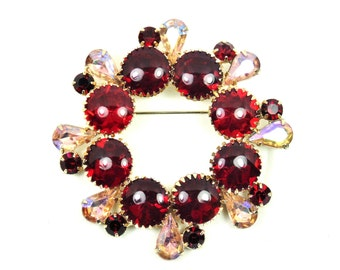 Red & Pink Rhinestone Brooch, High End, Ring Wreath Pin, Cupcake Settings,Vintage 1950s