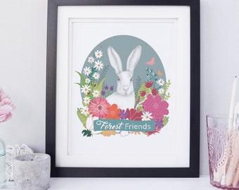 Baby Wall Art, Children's Wall Art, Baby Wall Decor, Bunny Print, Animal Print, Animal Art, Custom Wall Art, Children's Art, Nursery Art