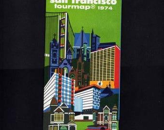 San Francisco Map, 1974, San Francisco Street Map, Walking Map, California Map, Road Map, San Francisco California, Tour Map, Vintage Map