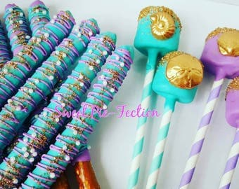 Sea Shell Marshmallows and Pretzels, Mermaid Marshmallows, Mermaid Pretzels, Under the Sea Marshmallows - 1 Dozen