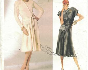 Vogue 1750 Geoffrey Beene Size 12 Vintage Mock Wrap Dress w/Front Pleating Pattern Uncut