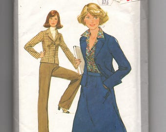 8315 Simplicity Sewing Pattern Ladies Skirt Pants & Unlined Jacket Size 10 Vintage 1970s