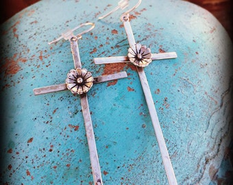 Long .925 Sterling Silver Cross & Rosette Earrings