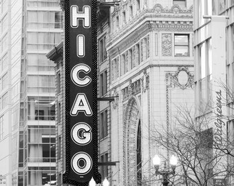 Chicago Theater VERTICAL photo print, black and white art photography, city wall decor, large canvas picture 8x10 16x20 20x30 24x36 30x40