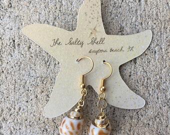 Small Shell Earrings, Gift Mom, Gold Plated Earrings, Hypoallergenic Earrings, Gold Earrings, Dangle Earrings