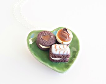 Chocolate Desserts Necklace, Chocolate Pastries, Miniature Sweets Necklace, Food Jewelry, Polymer Clay Sweets, Mini Food Necklace
