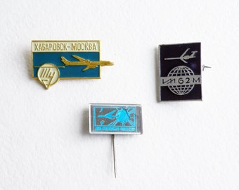Vintage enamel pins set Airborne day, Khabarovsk, IL 62 vintage aviation Soviet badge Aircraft Air pilot USSR gifts Russian airplanes pins