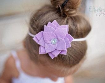 Purple Felt Flower Headband - Succulent Headband - Succulent Flower - Felt Flower - Felt Headband - Headbands for Girls - Felt Headband Baby