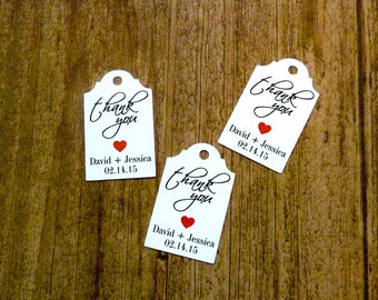 Personalized Tag - Wedding Favor Tags  - 50 Count - 1.75 x 1 in - Thank You Tags  - Wedding Tags - Rustic Wedding - Wedding Gift Tags WT5
