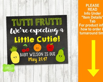 Fruit Pregnancy Announcement Sign - Printable Pregnancy Announcement Sign - Digital Chalkboard Sign - Kawaii Fruit Pregnancy Sign