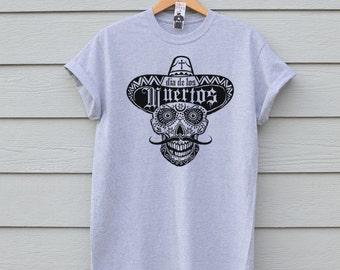 Sugar Skull Tshirt, Dia De Los Muertos Tshirt, Mens Day Of The Dead Tee, Ben Prints