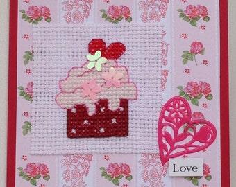 Cupcake 'Love' cross stitch original handmade card with sequin detail